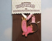 Hand Painted Cut Wood Key Ring - Prancing Uncommon Fenwick, Pink