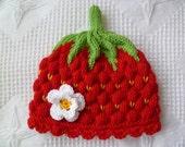 Knitting pattern baby hat, -strawberry- Circumference: 14,5 inch / 36/38 cm PDF