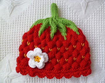Knitting pattern baby hat, -strawberry- Circumference: 14,5 inch / 36/38 cm PDF