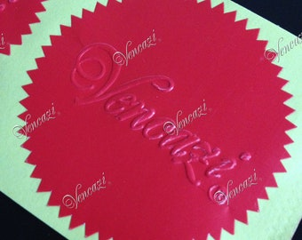 """2"""" Serrated Ready Made Custom Logo Seal Sticker 100pcs Pack - Red (plus GIFT)"""