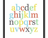 Alphabet Poster - Nursery Art Print - ABC - Colorful Wall Art - 8 x 10 - Choose from Classic or Pastel - Red Blue Yellow Gray Green