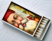 Victorian Christmas Santa Claus Holiday Party Favor Set of 4 Match Boxes