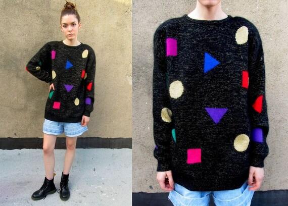 80's Black METALLIC Shape Geometric Slouchy Soft Sweater