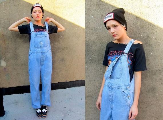 90's Grunge LEE Light Blue Denim Overalls Baggy Jeans