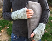 Jeremy Cable Knit Fingerless Gloves in Seafoam Blue - thelittlefoxes