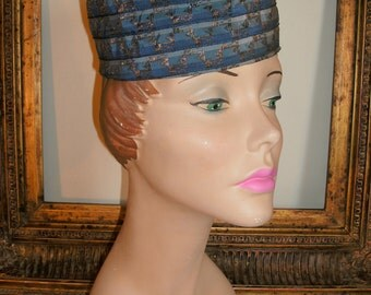 Vintage 1950's Blue Sriped with Gold Threads