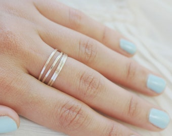 4 Smooth Stackable Silver Rings Size 5