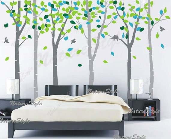 Birch tree wall decals nursery wall decal baby decal children vinyl wall decal girl bedroom  boy decal - 6 Birch Trees with Colorful leaves