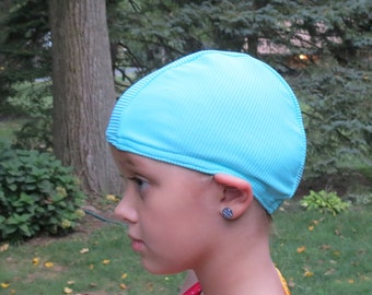 Lycra SWiM CaP - RIBBED AQUA BLUE - Sizes - Baby , Child , Adult , Xl - Made from Spandex / Swimsuit Swimming Fabric -by Froggie's Swim Caps