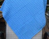 Crochet Stroller Blanket - Blue - Very Soft - Shell design. In stock and ready to ship.
