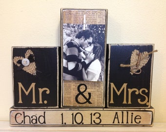 Personalized wedding gift Mr and Mrs black shabby chic burlap heart home decor Christmas gift with personalized picture names and wedding