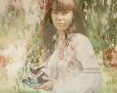 Dreamy portrait wallpaper flowers analog photography double exposure  - Nostalgia II - fine art analog print 5 x 5 inches