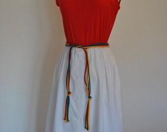 Retro SUMMER DRESS Red Hot Fourth of July 70's Vintage Small Medium