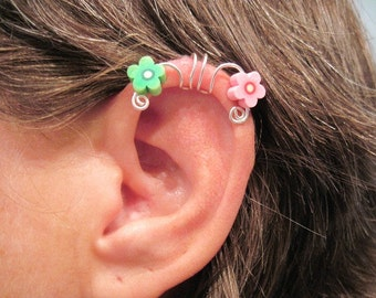 "No Piercing ""Painted Daisy"" Ear Cuff for Cartilage Helix Handmade 1 Cuff  Pink & Green Daisies"