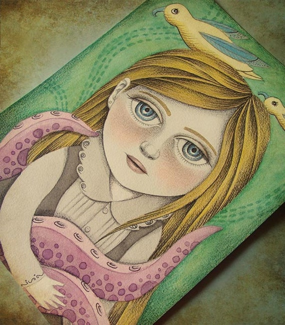 ON SALE 50% DISCOUNT Original Painting, Lowbrow Pop Surrealism Art, Whimsical Girl Painting - Helene by Amalia K