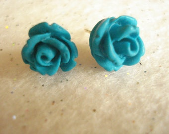Turquoise Rose Cabochon Polymer Clay Post Earrings Set On Sterling Silver Post Size 10mm