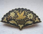 Vintage damascene fan pin