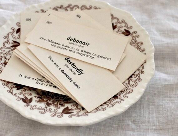 Vintage Vocabulary Cards