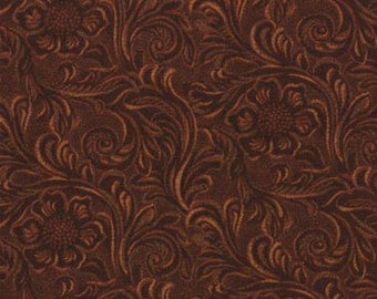 TOOLED LEATHER dark BROWN cotton print by the yard Moda 11216 15
