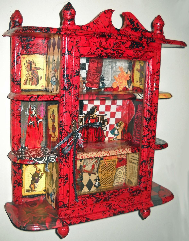 Alice In Wonderland Upcycled Glass Door Curio Cabinet