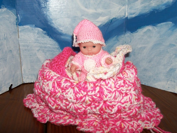5 inch Berenguer Girl Doll in her Crib Purse