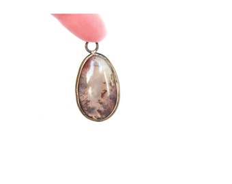 Oval Moss Agate Natural Stone Pendant