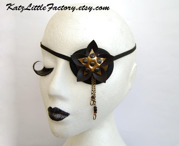 Bronze and brown shiny PVC eye patch steampunk Cyber Flower with bronze chains and pearls