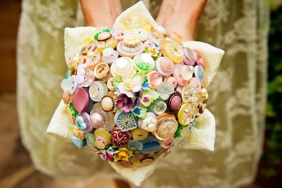 Vintage Button Bouquet - Flowers and Lace - Pastel Wedding Theme