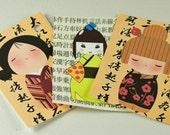 Tags Kokeshi Japanese Dolls with Japanese Writing 8 FREE Shipping