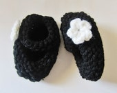 0-6 Month Baby Girl / Boy Mary Jane Booties - Black