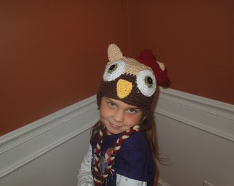 Beige and Brown Owl Earflap Hat - Create Your Own