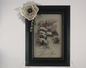 French Postcard Picture, From Paris With Love,  Black Embellished Frame