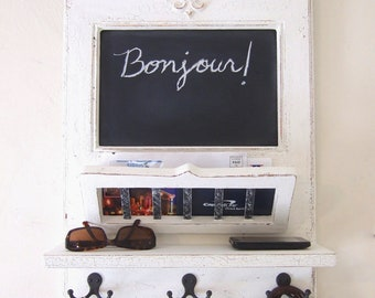 Chalkboard Mail Orgainzer with Fleur de Lis, Mail Basket, Shelf and Key Hooks - the original Parisian Home Metro by Arcadian Cottage