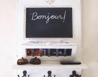 White Chalkboard Mail Orgainzer with Fleur de Lis, Mail Basket, Shelf and Key Hooks - the original Parisian Home Metro by Arcadian Cottage