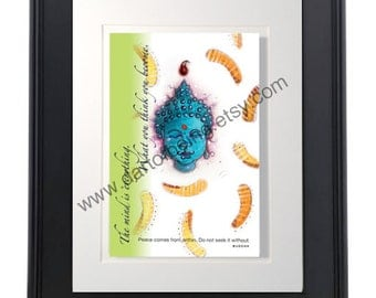 "Buddha Original Drawing Art Print with 8"" x 10"" Matte"