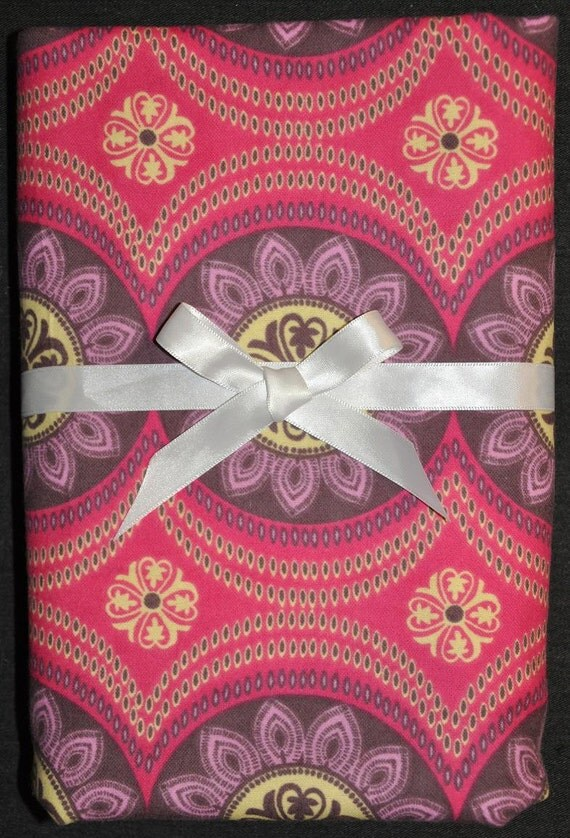 Extra Large Receiving/Swaddle Blanket- Pink & Purple MEDALLION 36 x 40 inches