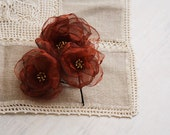 Set of 3 Copper Rust Flowers Bobby Pins with gold glass beads in the middle