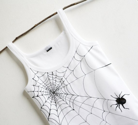 Spider Web Hand painted women tank SIZE S Swarovski crystal decorated