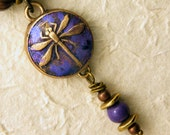 Dragonfly Necklace - Handcrafted Bronze Dragonfly Pendnat with Violet Patina & Enamel Beads on Bronze Ball Chain