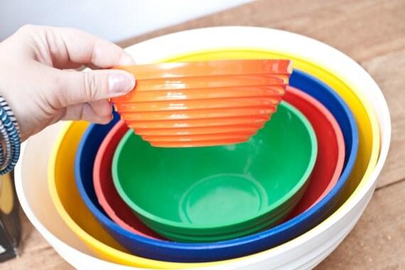 Set of Six Plastic Nesting Bowls by Ingrid
