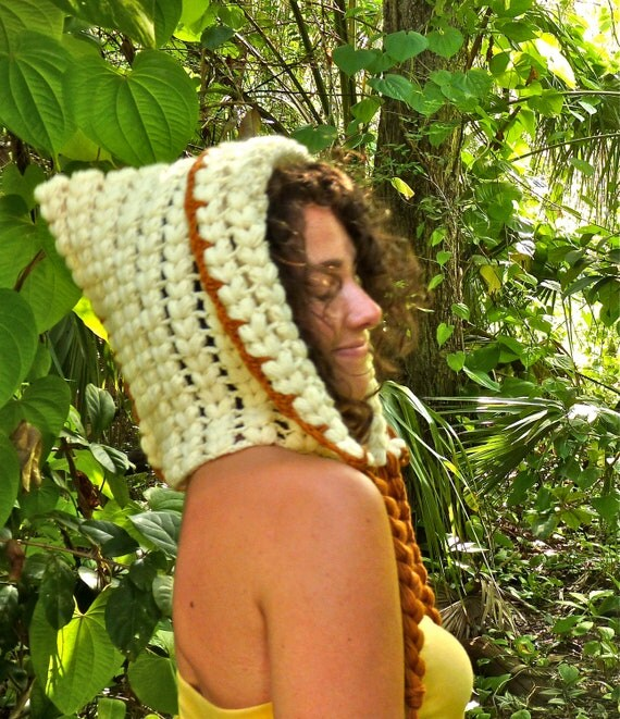 Golden Wool Crochet Slouchy Gypsy Hood