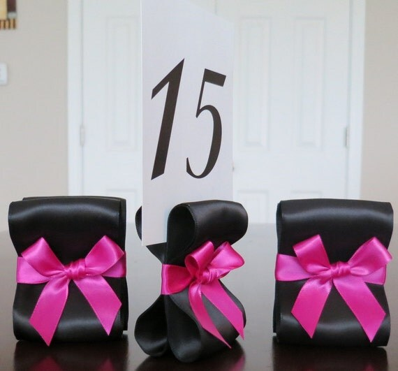 Table Number Holders - Wedding Decor - Set of Ten (10) with Black and Fuchsia Satin Ribbon - Customize Your Colors