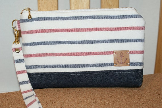 "Padded Wristlet Zipper Pouch with Pocket Made with Japanese Fabric ""Nautical Stripe"" Tricolor"