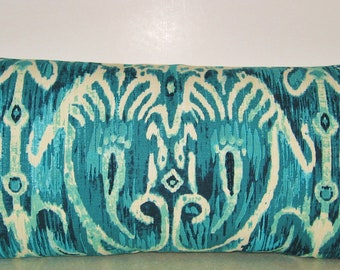 BOTH SIDES 24 X 12 ikat lumbar pillow cerva Ii pool turquoise pillow cover