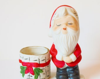 Vintage Jasco Christmas Luvkins Porcelain Santa Figurine Christmas Decoration Holiday Decor