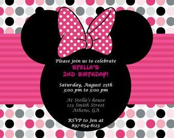 Printable Minnie Mouse Birthday Invitation