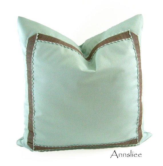 "PAIR - DECORATIVE PILLOW Covers - 18"" x 18"" In Sea Foam and Cocoa-Sea Foam Raidroad Braid"