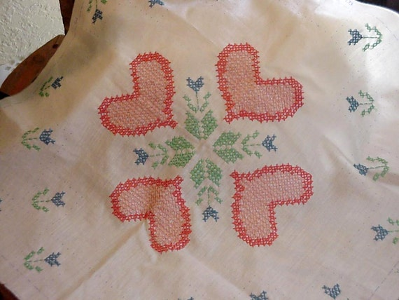 Cross Stitch Pillow Fronts, Vintage Hand Embroidered Hearts Tulips, Unfinished Needlework Piece, DIY Craft Project itsyourcountry