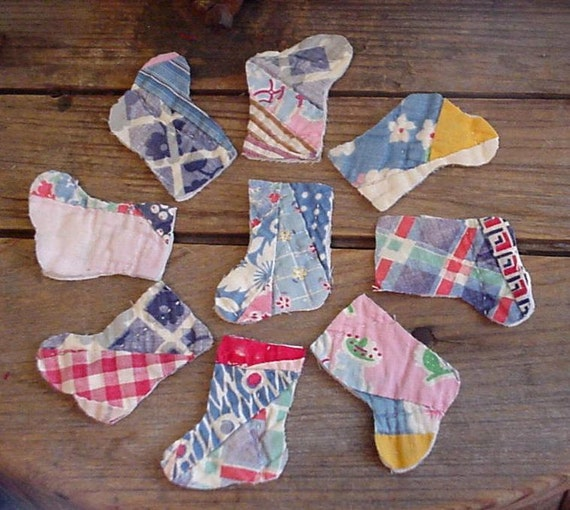 Christmas Stocking Appliques Old Patchwork Quilted Vintage Primitive Feedsack Cutter Quilt Embellishments Upcycled itsyourcountry
