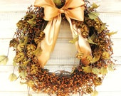 RUSTIC FALL Wreath-Golden Acorn Door Wreath-Woodland Wedding Decor-Grapevine Wreath-Scented Vanilla Cinnamon-Choose your Scent and Ribbon